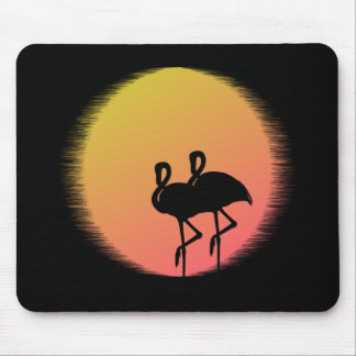 Sunset Flamingos Mouse Pad