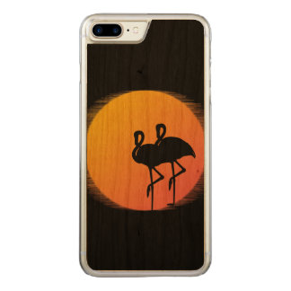 Sunset Flamingos Personalized Carved iPhone 8 Plus/7 Plus Case