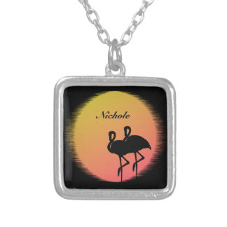 Sunset Flamingos Personalized Silver Plated Necklace