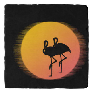 Sunset Flamingos Trivet