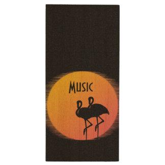 Sunset Flamingos Wood USB Flash Drive