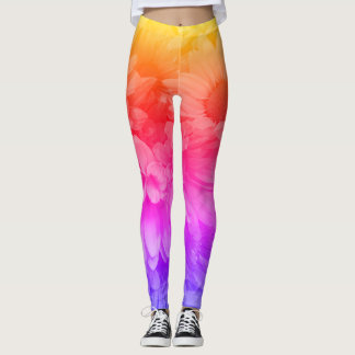 Sunset Flower Pattern Leggings