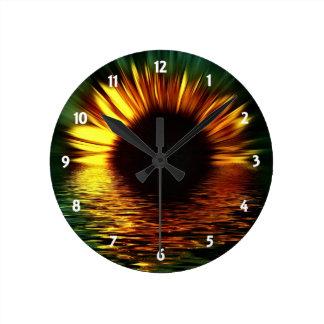 Sunset Flower Round Clock