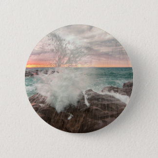 Sunset from a rocky beach 2 inch round button