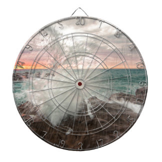 Sunset from a rocky beach dartboard