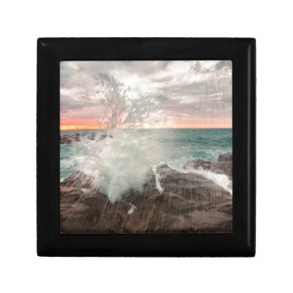 Sunset from a rocky beach gift box