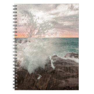 Sunset from a rocky beach notebooks