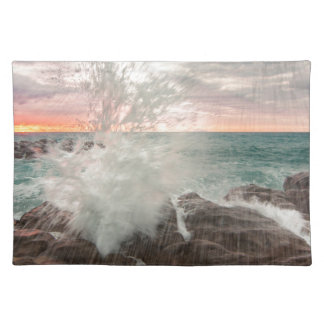 Sunset from a rocky beach placemat