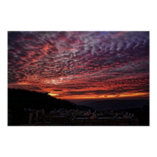 Sunset from Mount Herzl Poster