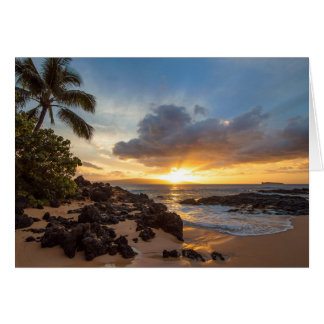 Sunset from Secret Beach on Maui Card
