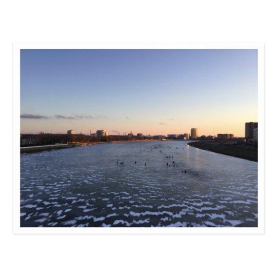 Sunset Frozen River Postcard