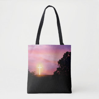 Sunset Glowing Cross Silhouette Tote Bag