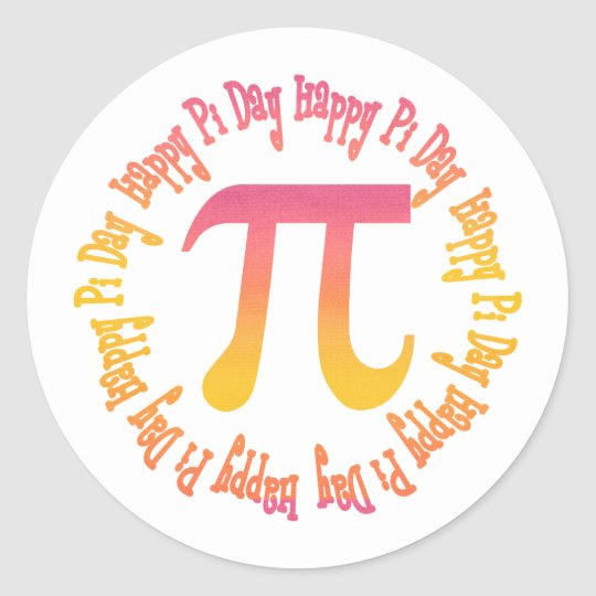 Sunset Gradient Pi Day Gifts and Tees Classic Round Sticker