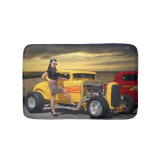 Sunset Graffiti Hot Rod Coupe Pin Up Car Girl Bath Mat