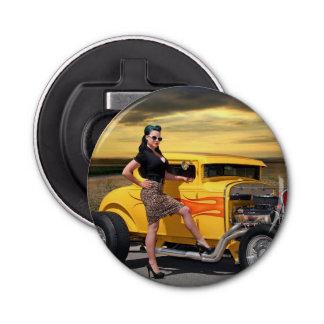 Sunset Graffiti Hot Rod Coupe Pin Up Car Girl Bottle Opener