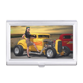 Sunset Graffiti Hot Rod Coupe Pin Up Car Girl Business Card Holder