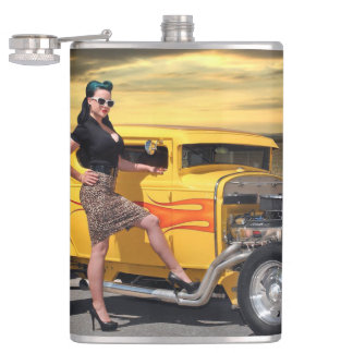 Sunset Graffiti Hot Rod Coupe Pin Up Car Girl Hip Flask