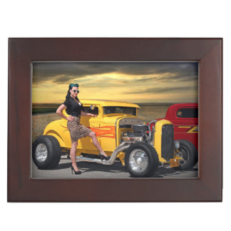 Sunset Graffiti Hot Rod Coupe Pin Up Car Girl Keepsake Box