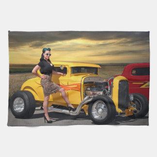 Sunset Graffiti Hot Rod Coupe Pin Up Car Girl Kitchen Towel