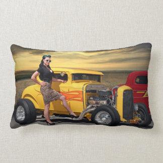 Sunset Graffiti Hot Rod Coupe Pin Up Car Girl Lumbar Pillow