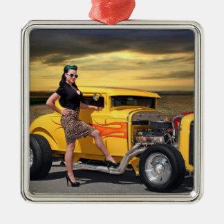 Sunset Graffiti Hot Rod Coupe Pin Up Car Girl Metal Ornament