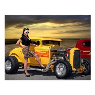 Sunset Graffiti Hot Rod Coupe Pin Up Car Girl Postcard