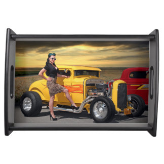 Sunset Graffiti Hot Rod Coupe Pin Up Car Girl Serving Tray