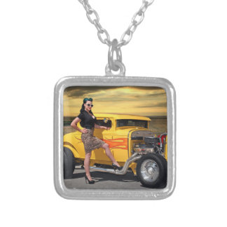 Sunset Graffiti Hot Rod Coupe Pin Up Car Girl Silver Plated Necklace