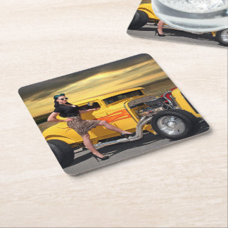 Sunset Graffiti Hot Rod Coupe Pin Up Car Girl Square Paper Coaster