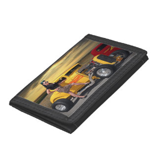 Sunset Graffiti Hot Rod Coupe Pin Up Car Girl Trifold Wallet