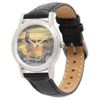Sunset Graffiti Hot Rod Coupe Pin Up Car Girl Watch