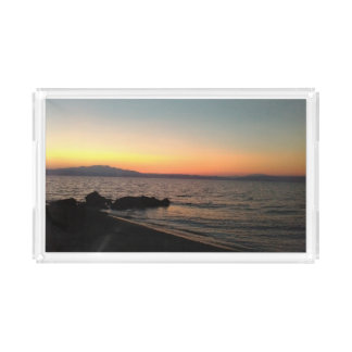 Sunset Greece sea photo Custom Small Vanity Tray