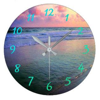 Sunset Gulf Coast Waters Large Clock