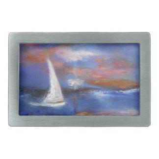 Sunset Harbor Sail Seascape Painting Belt Buckle
