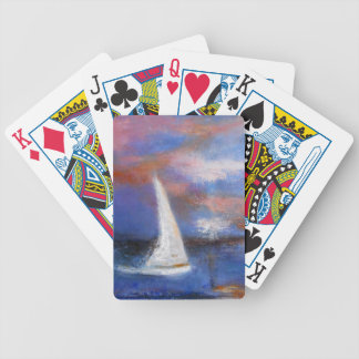 Sunset Harbor Sail Seascape Painting Bicycle Playing Cards