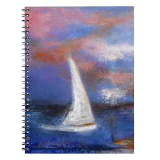 Sunset Harbor Sail Seascape Painting Notebooks