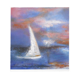 Sunset Harbor Sail Seascape Painting Notepad