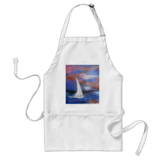 Sunset Harbor Sail Seascape Painting Standard Apron
