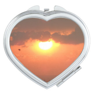 Sunset  Heart Compact Mirror