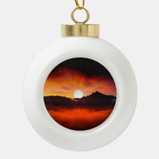 Sunset Holiday Style Ceramic Ball Ornament