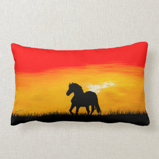 sunset horse lumbar pillow