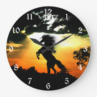 Sunset horse silhouette large clock
