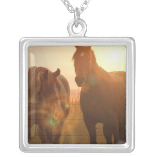 Sunset Horses  Sterling Silver Necklace