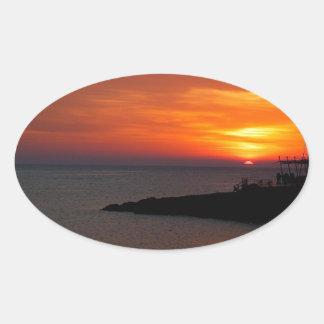Sunset Ibiza Oval Stickers