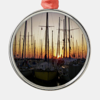 Sunset In A Marina Silver-Colored Round Ornament