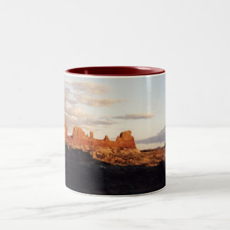Sunset in Arches, Arches National Park, Utah Two-Tone Coffee Mug