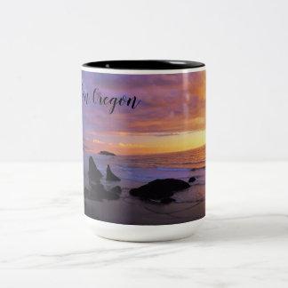 Sunset in Bandon, Oregon Two-Tone Coffee Mug