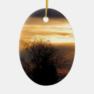 Sunset in Bavaria Ceramic Oval Ornament
