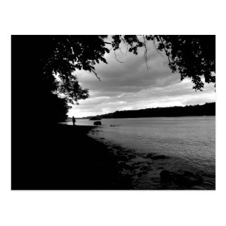 Sunset in Black and White over the Hudson River Postcard