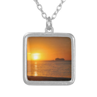 Sunset in Caribbean Silver Plated Necklace